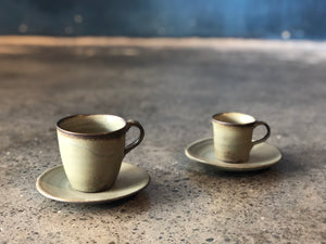 Coffee/Teacup with Saucer, green, Handmade