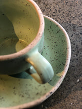 SOLD | Coffee/Teacup with Saucer: Green Soda, Speckled, Rough Rim, Handmade
