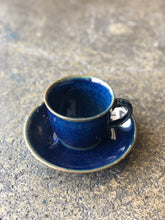 Coffee/Teacup with Saucer: Shiny Dark blue, Handmade