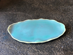 Blue Oval Plate,Uneven Rough Rim, Handmade