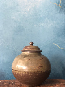 SOLD | Cover Jar, Earth Rustic, Lead-Free Glazed, Handmade Pottery