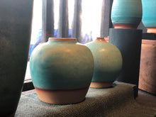 Turquoise Vase, Raw at bottom, Handmade