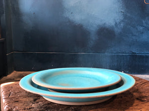Plate: Smooth Turquoise, Glazed, Raw Rim, Handmade