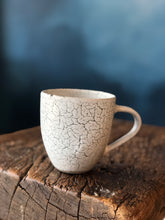 Cup: White with Black Cracking, Uneven, Smooth, Handmade