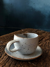 Light purple coffee cup with saucer Set, Speckled Texture, rough, Light Purple, Handmade