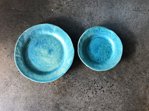 Uneven Teal Plates, Rough Glazed, Nifty Turquoise