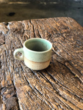 SOLD | Small Expresso Cup, Light Green/Brown, Rustic, Handmade