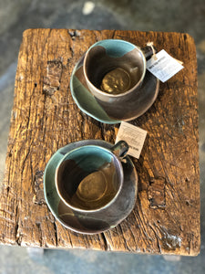Cup with Handle and Saucer Set, Dark Natural Brown/Teal, Uneven, Handmade