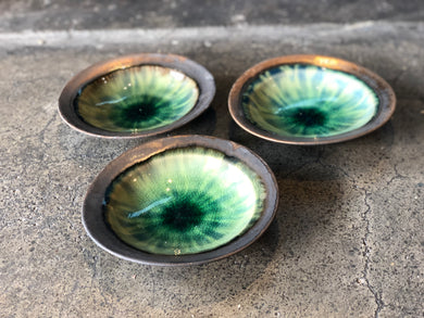 Agate-Green Glaze, Black Bottom, Bowl, Pottery, Rustic, Handmade