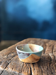 Small Bowl, Aqua/Brown/Maroon Mixed Colour, Smooth, Handmade