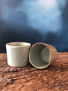 Small Tea Cup Without Handle, Light Green, Speckled, Smooth, Handmade