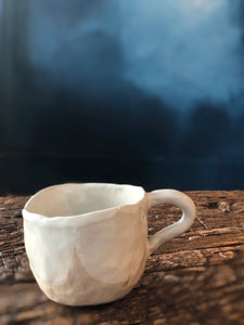 Small Tea Cup With Handle, White Creme Mix, Uneven, Textured, Handmade