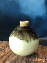 Small Circular Vase, Mix of Brown/Green/White/Dark Colours, Handmade