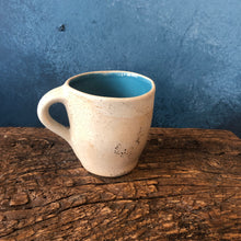 Mug with Handle: Rough Exterior, Glossy Blue Interior, Speckled, Handmade