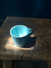 Coffee/Teacup with Suacer: Turkish Blue, Glazed, Raw Rim, Black Speckled, Handmade