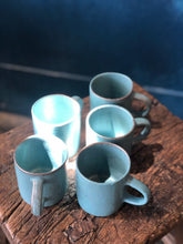 Coffee Cup With Handle, Light Blue Turquoise, Speckled, Rough/Smooth, Handmade