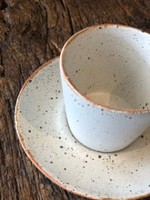 Tea /coffee Cup With Handle and Saucer, White, Speckled, Rough, Handmade