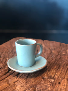 Espresso set: Tall Cup with Saucer, Blue, Rough, Speckled, Handmade