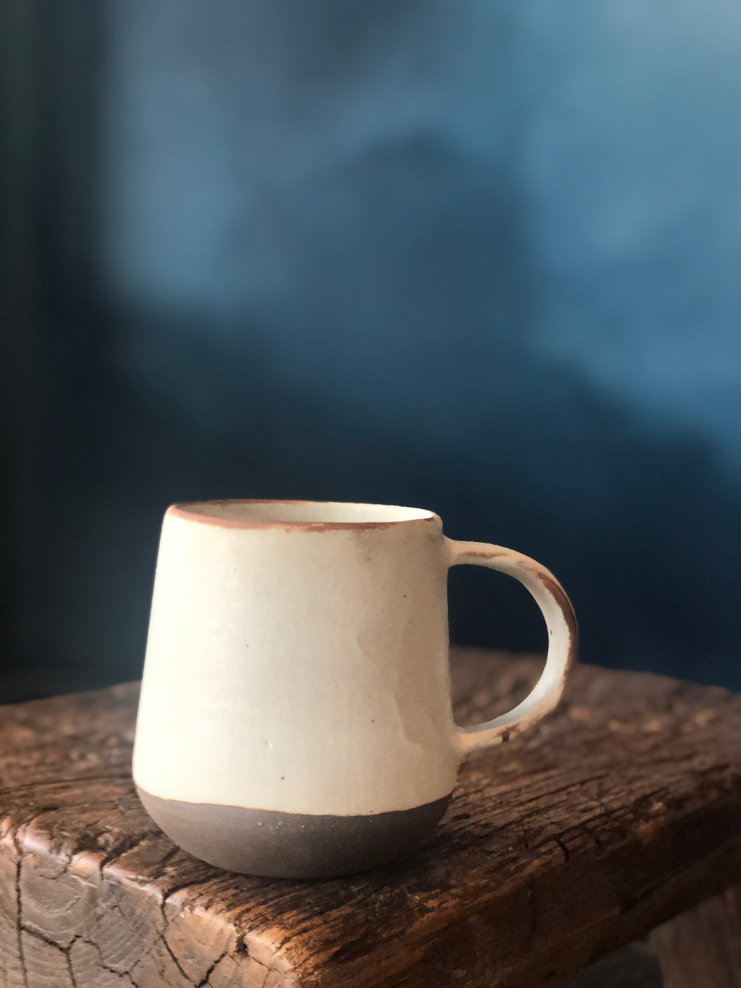 Coffee Mug Antique White, Brown at bottom, Semi-Glazed, Handmade pottery