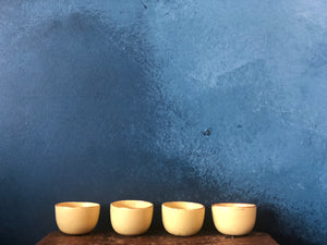Mini Yellow Cup: rough, Speckled, Raw Rim, Handmade