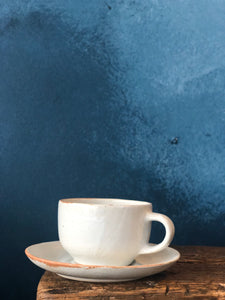 Round Coffee / Tea Cup with saucer, White, Smooth, Slightly Speckled, Handmade