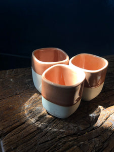 Small Teacup: Square, Glossy, Cider Colour, Cracked pattern,Rough at bottom, Handmade