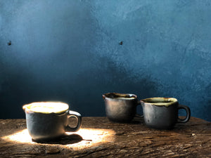 Tiny Cream Jug/Milk Jug, Smooth Charcoal Exterior, Creamy White and Brown Rim Interior, Handmade