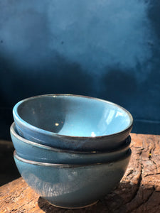 Small Bowl: Glossy Pigeon Blue/Brown Shades, Darker Rim, Handmade