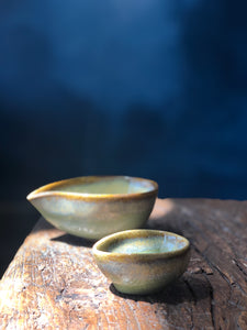 Tiny Cream/Milk Bowl: Shinny Emerald Green, Cracked Pattern, Dark Green Rim, Handmade