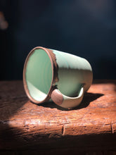 SOLD OUT!! SAI's Mug no 1: Light Green Turquire, Golden Brown Rim, Handmade