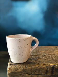 SOLD OUT - Mug: Uneven Shape Pink Mug with Handle, Speckled, Handmade