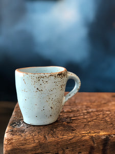 Mug: Light Blue, Uneven, Rough Rim, Speckled, Handmade