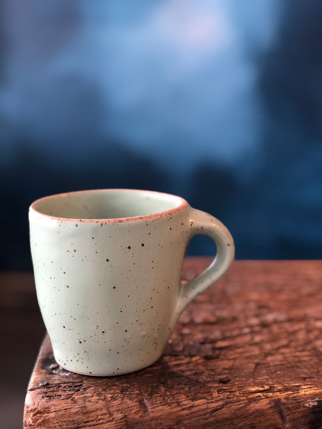 Mug: Green Soda, Speckled,Uneven mug with Raw Rim, Handmade