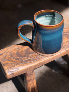 Large Mug with Handle, Shades of Deep Ocean Blue, Textured Earth Coloured Rim, Spiral Textured Interior, Glossed, Handmade