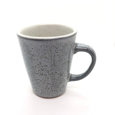 SALE - Grey-White Mug with Handle, Hints of Green, Speckled Exterior, Smooth White Interior, Handmade