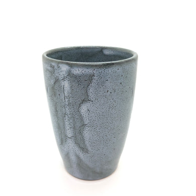 SALE - Glossy Tall Mug, Shades of Grey and Olive Green, Cracked Lines, Speckled, Textured Spiral Interior, Dark Olive Rim, Handmade