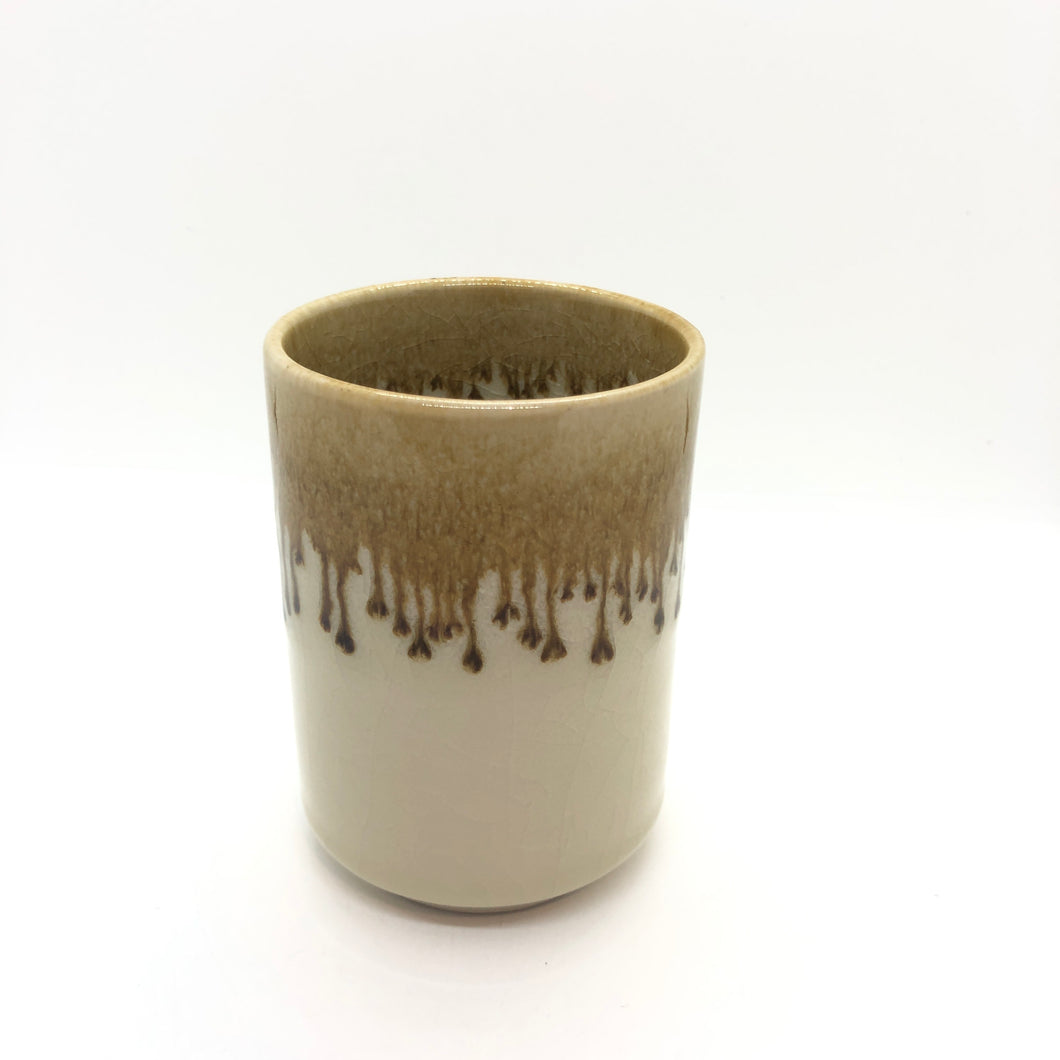 SOLD | NEW Cup! Yellow Brown Colour, Beautiful Crackled, Glossy Shinny Handmade Cup