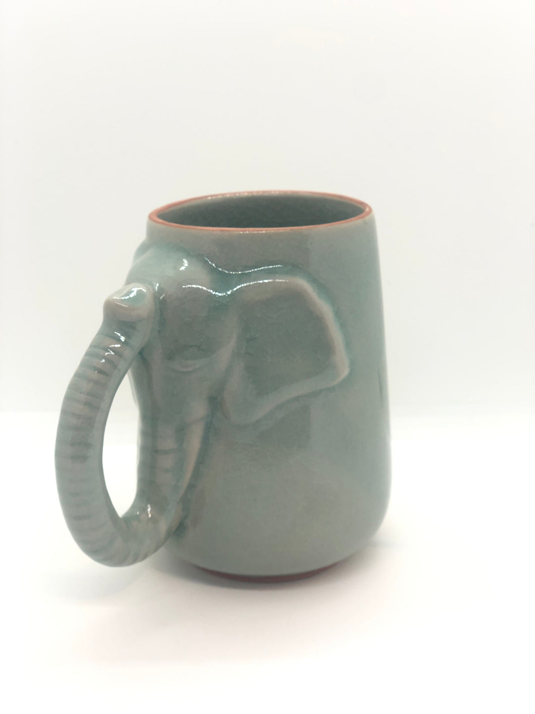 SOLD | Light Green Elephant Shaped Mug, Glossy Cracked Pattern, Rough Rim, Handmade