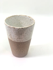 Speckled Funnel Mug, Half Glossy White-Half Rough Natural Brown, Glazed Interior, Handmade