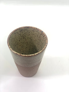SOLD - Speckled Funnel Mug, Glossy Light Green Cracked Pattern on Upper Half, Rough Natural Brown Bottom Half, Handmade