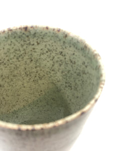 Sold!! Funnel Shaped Mug, Light Moss Green, Glossy Cracked Pattern, Speckled with Natural Brown, Handmade