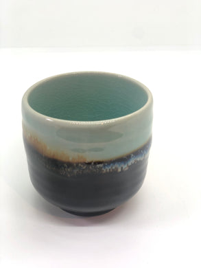 Coffee/Tea Cup: Mint Green, Blue/Yellow, White Layer, Dark at Bottom, Crackled Texture, Handmade