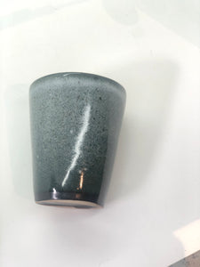 Dark Grey/Green Mug, Spray Paint Effect, Black Band around Bottom, Dark Moss Rim, Handmade
