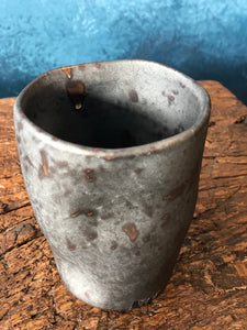 SOLD | Brown-Silver, Uneven Shape Mug, Handmade
