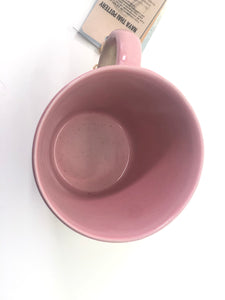 SALE - Pink Mug with Handle, Slightly Speckled, Rough Bottom Exterior, Smooth Glossy Upper Half/Interior, Handmade