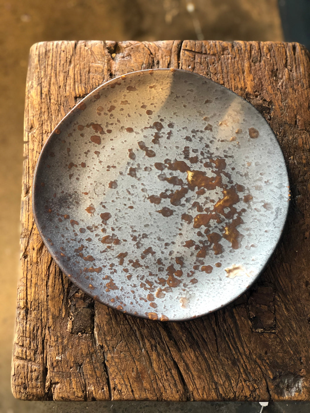 Uneven Plate, Rustic Design, Brown Drop Tone, Handmade