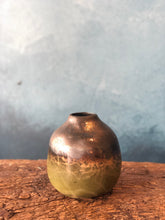 SOLD | Decoration Vase, Green Gold Glaze, Rustic Shades
