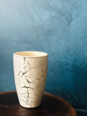 SALE Light Grey-White Tall Mug, Hints of Blue-Green in the Speckled/Cracked Pattern, Glossy, White Interior, Handmade