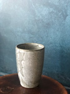 Smooth Funnel Shaped Tall Mug, Light Grey/White, Hints of Green in the Cracked/Speckled Pattern, White Interior, Handmade