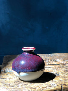 Kinyo - Rouge Flambe' - Copper Red - purpel Tiny Vase 7